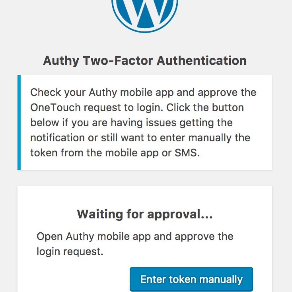 Authy WordPress Login Screen