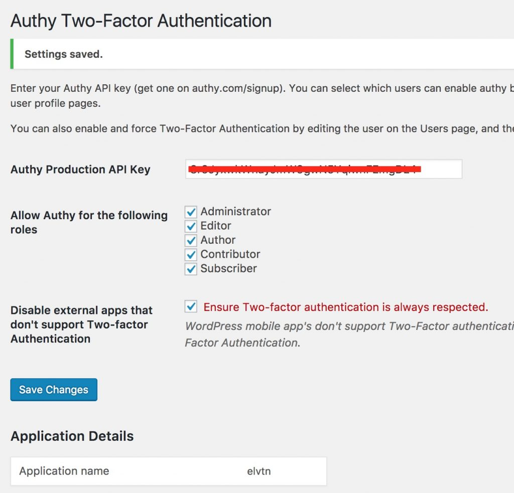 Authy WordPress Setup