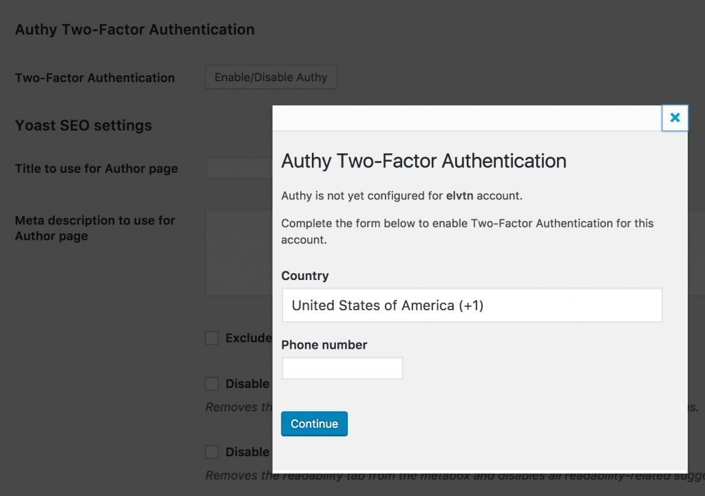Authy WordPress User Setup