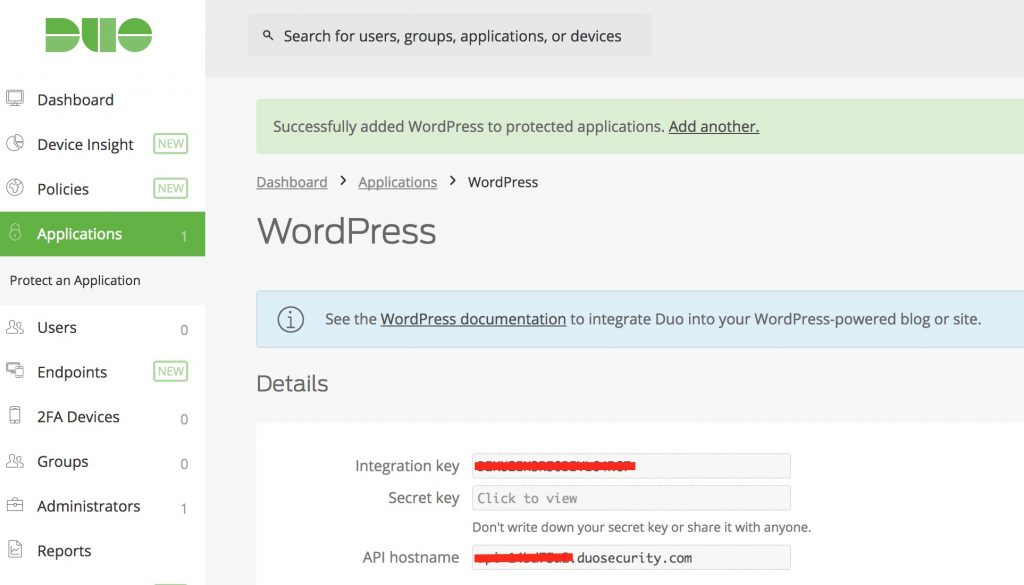 Duo WordPress Configuration