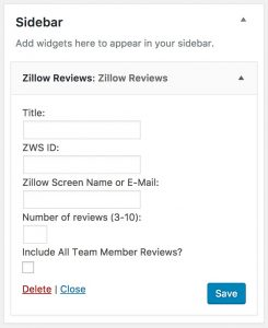 Zillow WordPress Plugin Widget