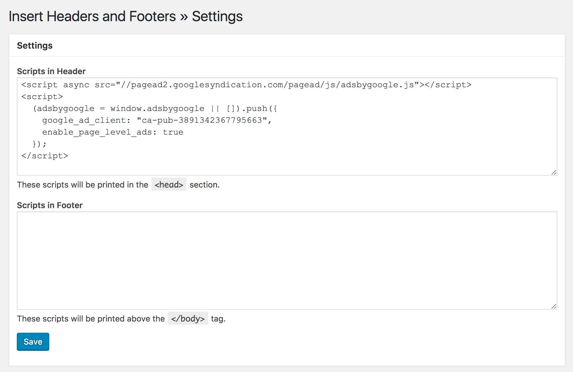 Google AdSense WordPress Header Script