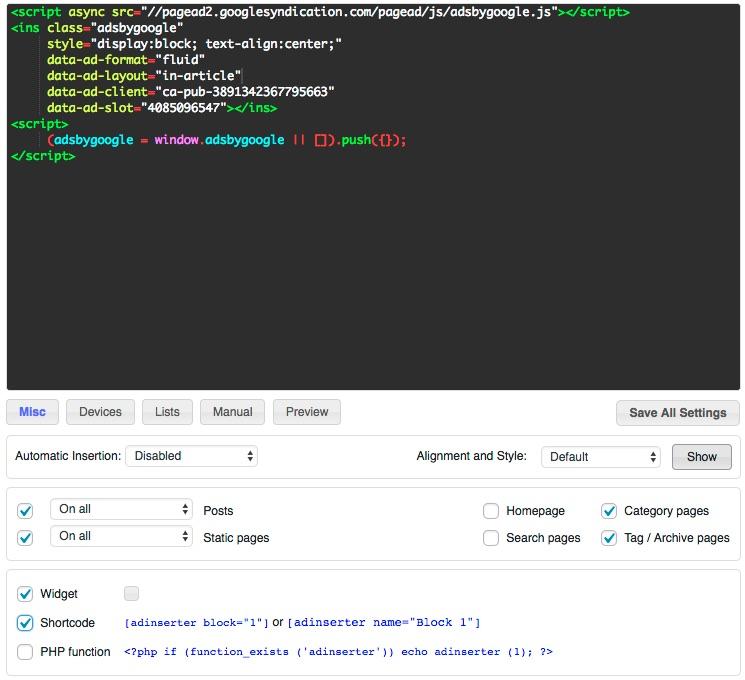 WordPress Ad Inserter Plugin for Sidebar Unit