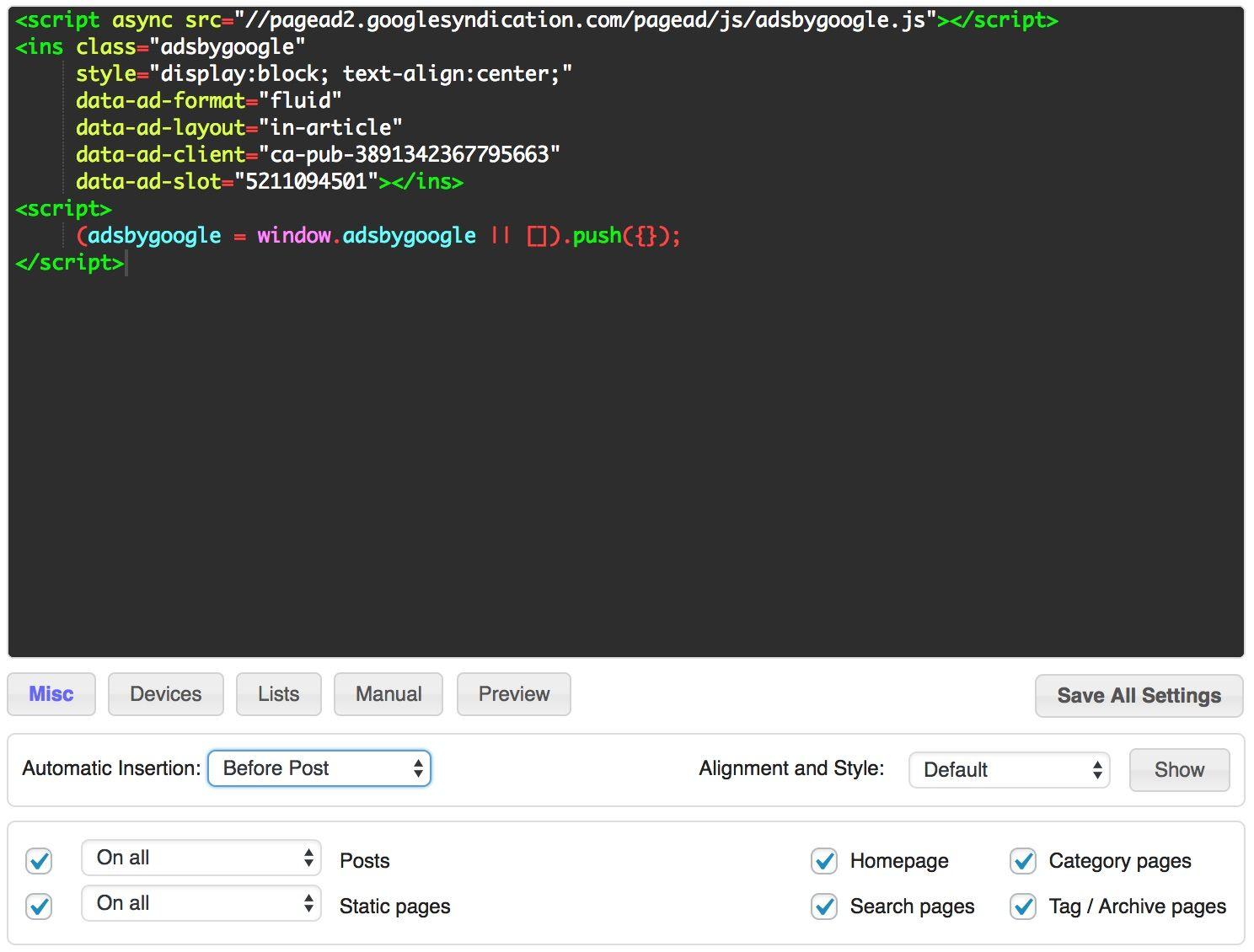WordPress Ad Inserter Plugin Top Of page Ad Unit