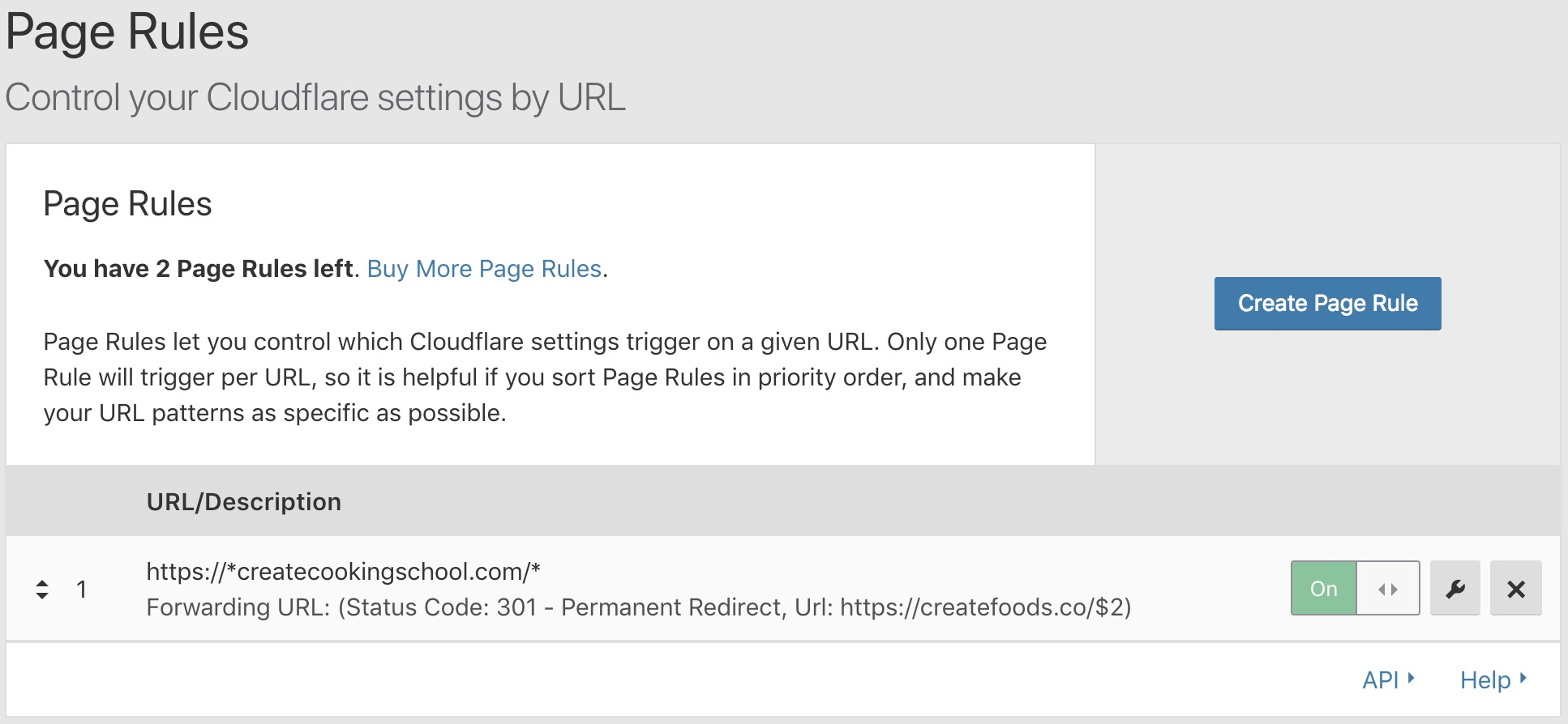 CloudFlare page rule summary